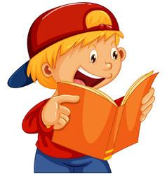 a boy reading a book vector image