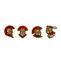 a collection of colorful logos spartan s head vector image