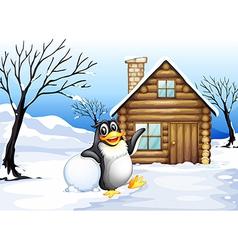 A penguin outside house vector