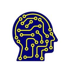 ai artificial intelligence icon techno human head vector image