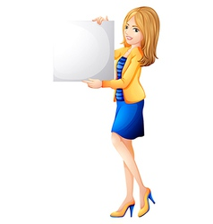 An office girl holding an empty signboard vector image