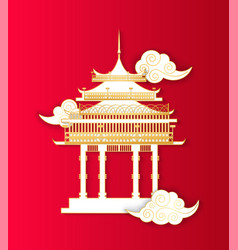 Asian architecture building in style icon vector