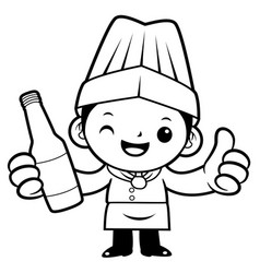 black and white cartoon cook mascot promotes a vector image