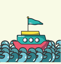 boat on sea vector image