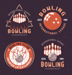 bowling tournament colored emblems vector image