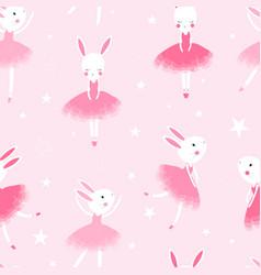 bunny ballerina hand drawing vector image
