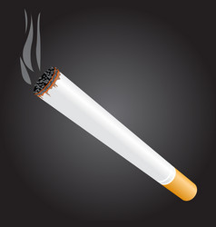 Burning cigarette on dark background - tobacco vector