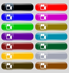 camcorder icon sign Big set of 16 colorful modern vector image