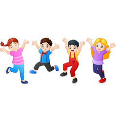 cartoon children jumping together vector image