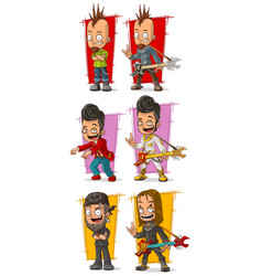 cartoon rock musicians with guitar character set vector image