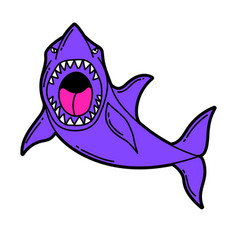 cartoon shark urban colorful vector image