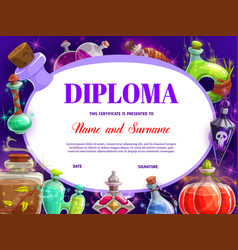 Child diploma with witch magic potions bottles vector