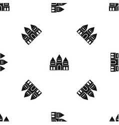 Children house castle pattern seamless black vector