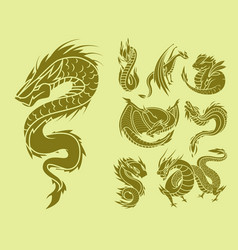 chinese dragon silhouettes tattoo mythology tail vector image