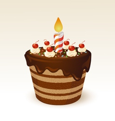 Chocolate cake for birthday vector