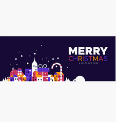christmas and new year banner winter city vector image