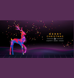 christmas new year retro 80s neon deer party card vector image