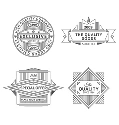 collection of retro outline vintage style labels vector image