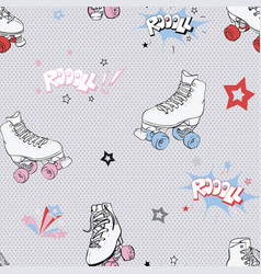 Comic roller skates seamless pattern vector