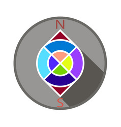 compass in color in a gray circle vector image