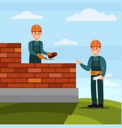 construction worker bricklayer making a brickwork vector image vector image