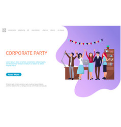 corporate party coworkers web page business people vector image