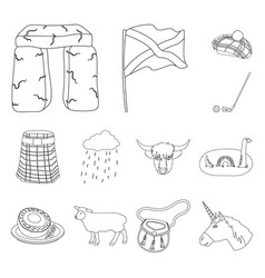 country scotland outline icons in set collection vector image