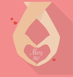 Couple hands with marry me word vector