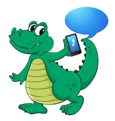 Crocodile with cell phone vector