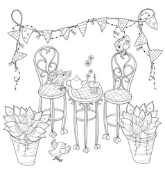 cute birthday tea time in flowers vector image