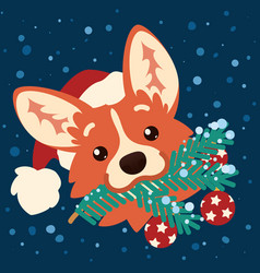 Cute corgi dog in santa hat with christmas tree vector
