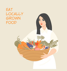 Cute girl holding a basket with various vegetables vector
