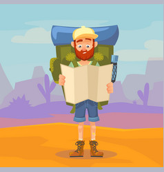Cute tourist male character holding a map hiking vector