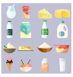dairy products flat icons set vector image