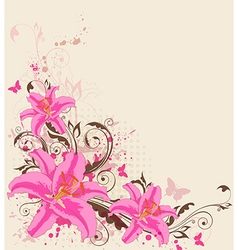 decorative background with pink lily vector image vector image