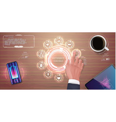 digital desktop technology future top view vector image
