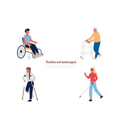Disabled and handicapped people in wheelchair vector