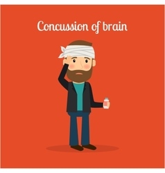 Disabled man with concussion of brain vector image