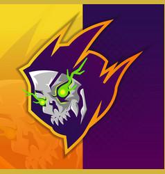 E-sports team logo template with electro skull vector