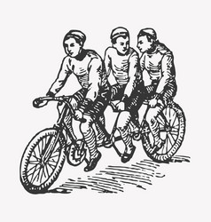 Engraving tandem bike vector