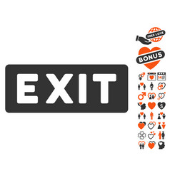 Exit label icon with love bonus vector