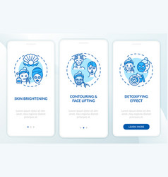 Facial mask effects onboarding mobile app page vector