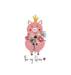 fairy piggy holding bunch of flowers vector image