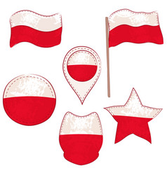 flag of the poland performed in defferent shapes vector image