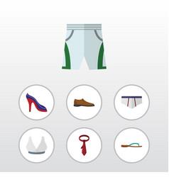 Flat garment set of male footware beach sandal vector
