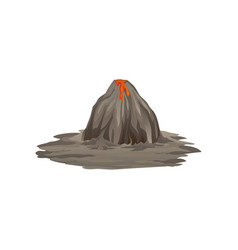 Flat of big gray volcano on vector