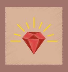 flat shading style icon diamond symbol vector image