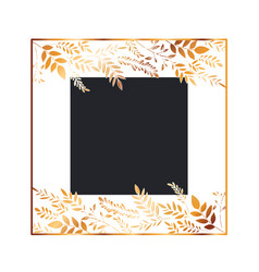 Frame with flowers and leafs golden vector