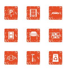 free parking icons set grunge style vector image