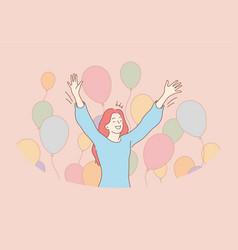 Fun success celebration holiday joy concept vector